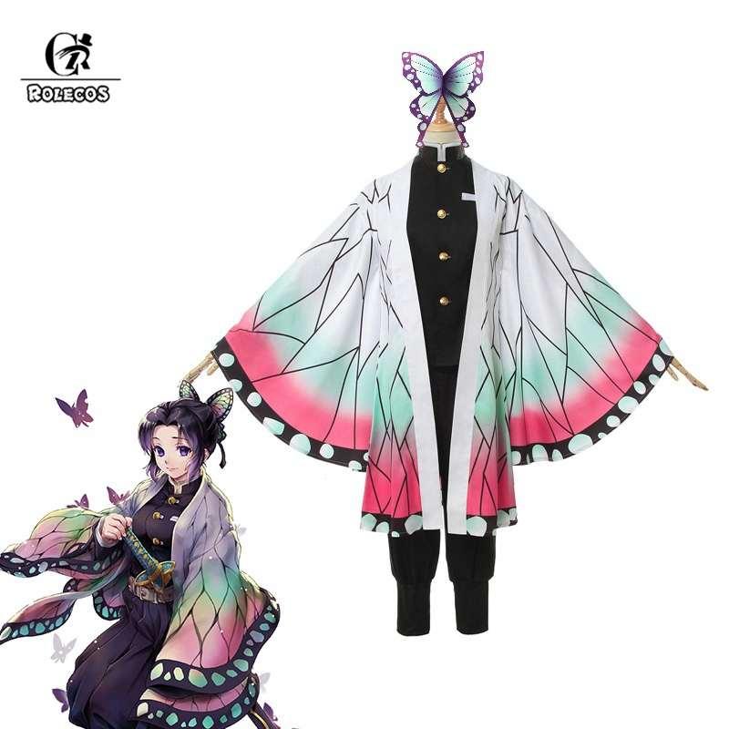 ROLECOS, Demon Slayer, аниме, косплей костюм, Kochou Shinobu, женский костюм, Kimetsu no Yaiba, косплей, для Хэллоуина, наряд Бабочка