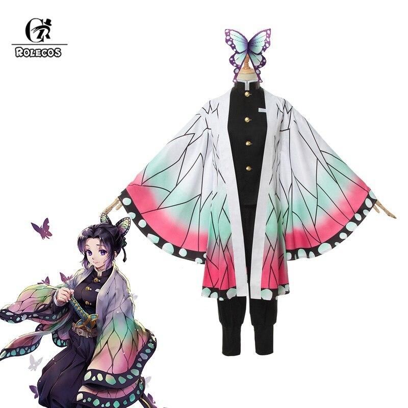 ROLECOS Demon Slayer Anime Cosplay Costume Kochou Shinobu Women Costume Kimetsu No Yaiba Cosplay For Halloween Outfit Butterfly