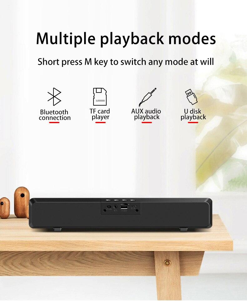 S13 Soundbar for TV Home Theater Computer Speaker Bluetooth Speaker Surround Sound Bar with AUX USB FM Radio 3