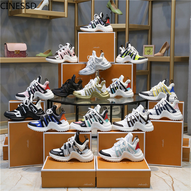 Women Platform Arched Shape Sneakers Height Increasing Lace-Up Running Shoes Mixed Color Brand Designer Woman Vulcanize Shoes