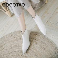 Autumn Short Boots Female 2019 The New Joker Fashion Pointed Fine With White Lea