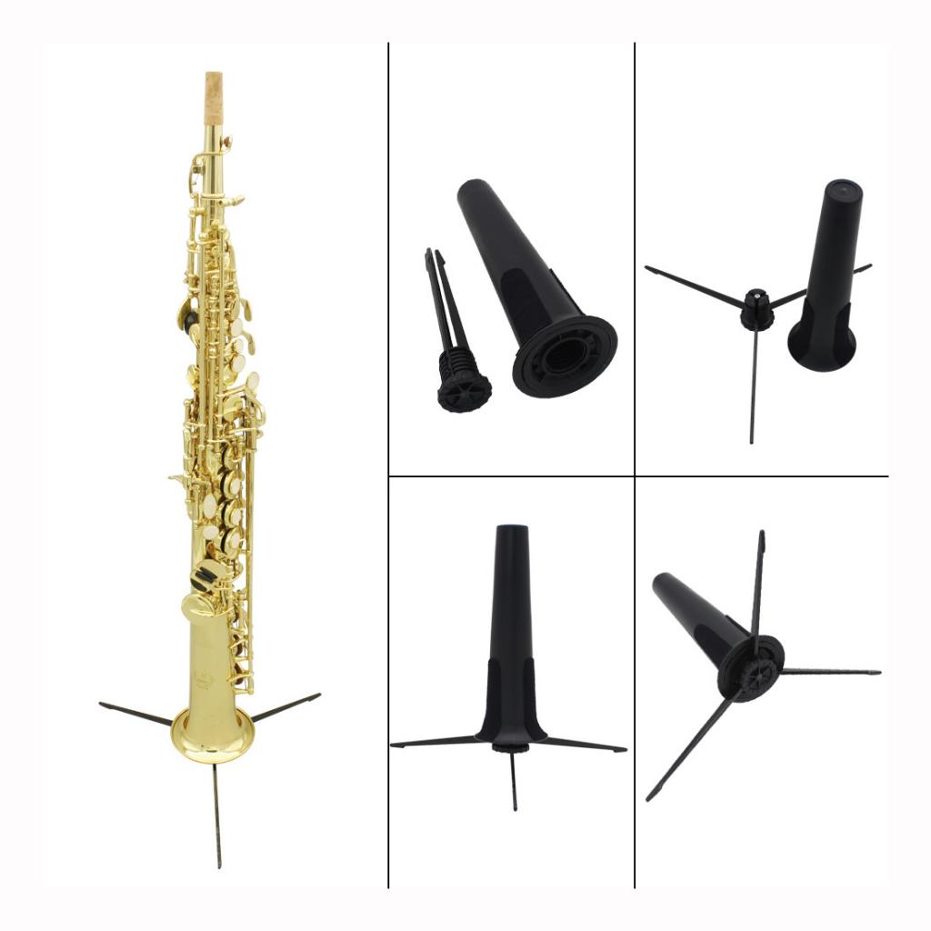 Portable Foldable Tripod Stand Holder Bracket For Soprano Saxophone Black