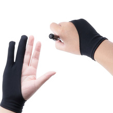 Black 2-Finger Anti-fouling Glove For Any Graphics Drawing Tablet Hand Size S/M/L
