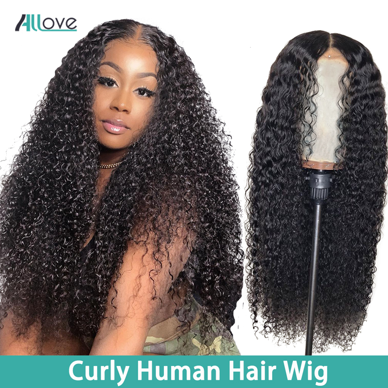 Allove 360 Curly Lace Wig Brazilian Lace Front Human Hair Wigs For Black Women 360 Lace Frontal Wig Pre Plucked With Baby Hair