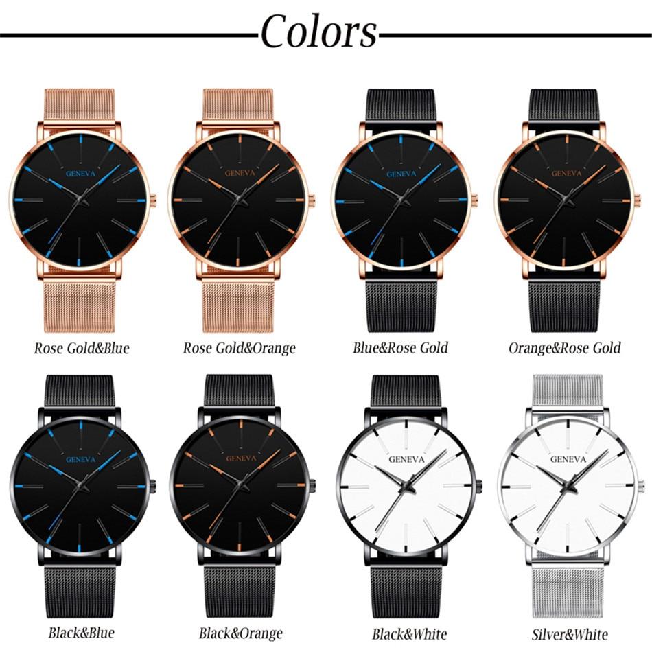 Hc8d408ff095242168a551a1836b2cee0m 2020 Minimalist Men's Fashion Ultra Thin Watches Simple Men Business Stainless Steel Mesh Belt Quartz Watch Relogio Masculino