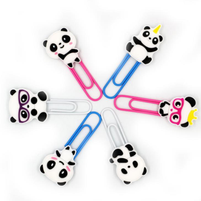 6 Pcs/set Cute Animal Panda PVC Metal Clips Bookmark Paper Clip School Office Photo Memo Clips Escolar Papelaria Gift Stationery
