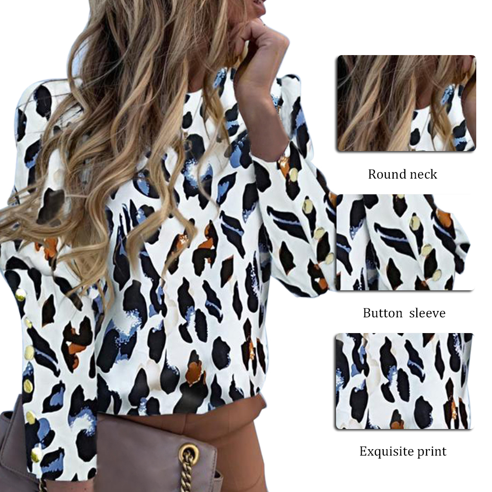 Hc8d413f0b13b4936aeb60a9d33e2799eh - JODIMITTY Puff Shoulder Blouse Shirts Office Lady New Autumn Metal Buttoned Detail Blouses Women Pineapple Print Long Sleeve Top