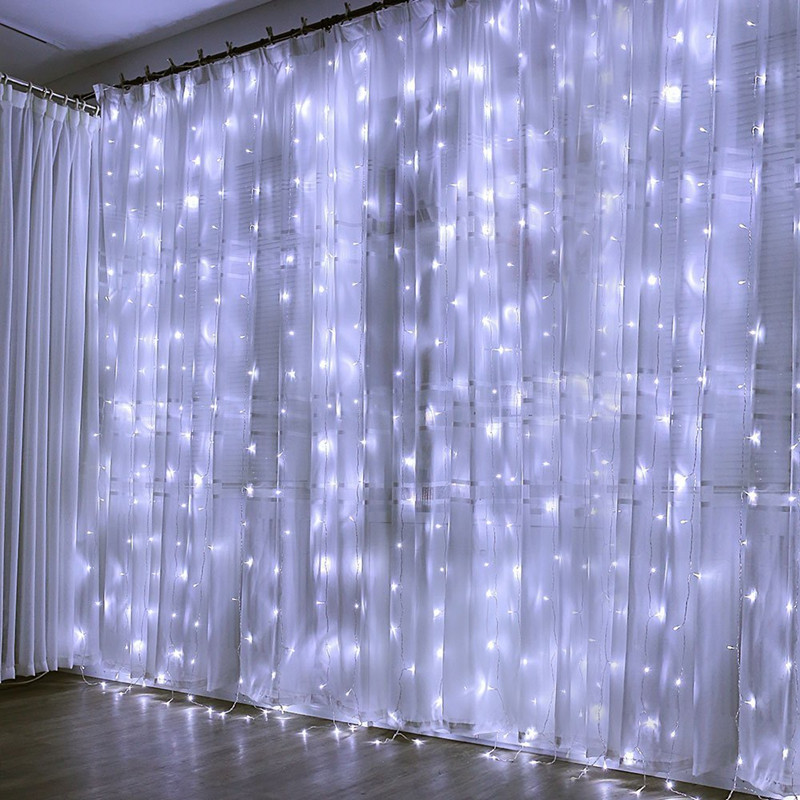 1m/2m/3mLED Curtain Lights String Window Garland Outdoor Garden Waterproof Lights Fairy Lights  Christmas New Year Decoration