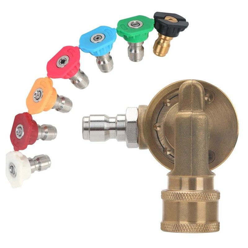 Power Druck Washer Spray Düse Tipps und Quick Connect Pivot Adapter Koppler 220 Grad mit 7 Rotation Winkel, seife und Rin