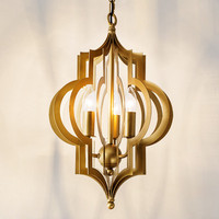 디자이너 룸 황금 LED 펜 던 트 램프 빛 로비 현관 거실 부엌 방 매달려 빛 램프 구리 황동 색 펜 던 트 램프