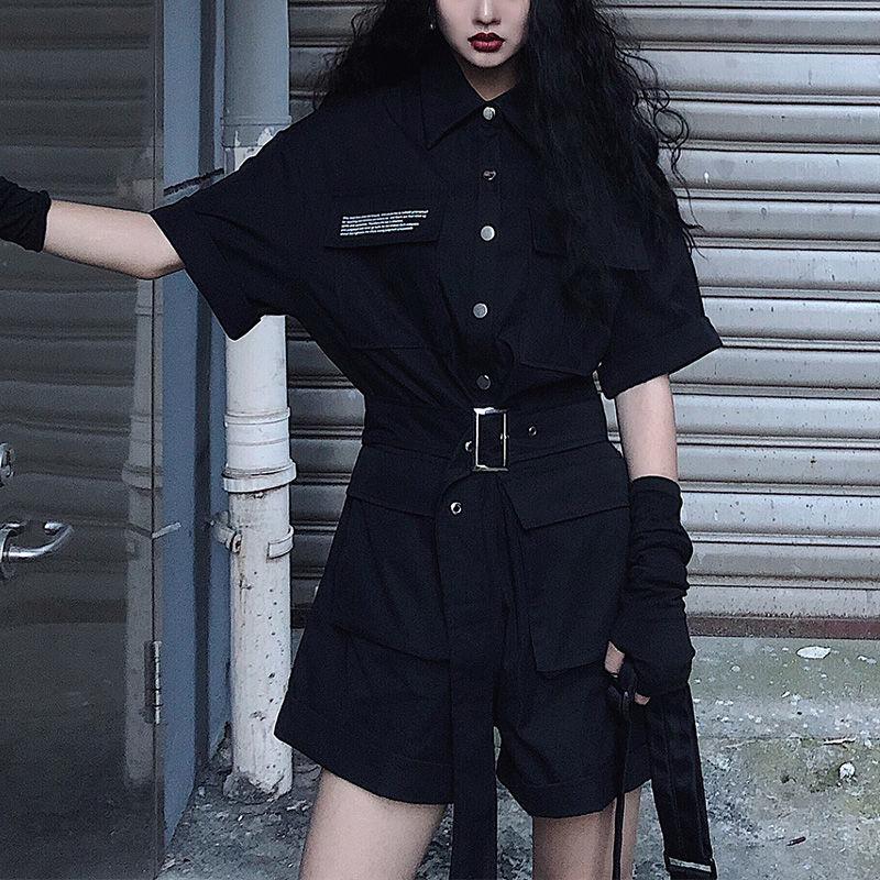 Black Gothic Jumpsuit Women Korean Harajuku Vintage High Waist Cargo Pants Short Sleeve Tops Streetwear Rompers Suit Clothes