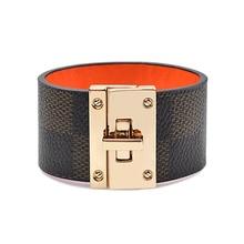 Kirykle Fashion Bracelet For Woman Brown black Pattern wide Leather Bracelets Gold Metal buckle Decoration Leather Hand Catenary