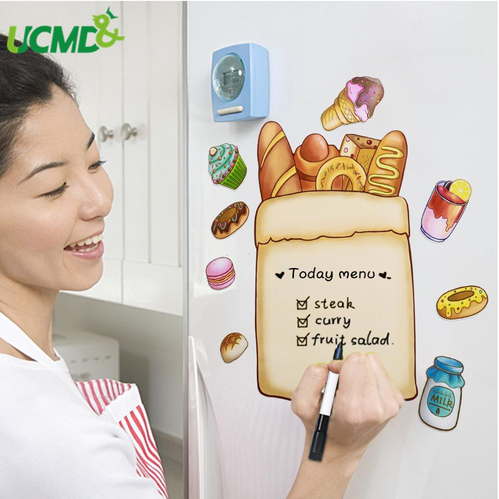 Magnetic Whiteboard Fridge Sticker Erasable Cactus Bread Writing Painting Message Board Memo Plan List Office Room Decor For Kid