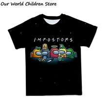 Kids t Shirt Children Clothing 2021 Funny Summer Tops Cartoon Kawaii Tee Boys Girls Clothes for teens Game amoung us cheap Polyester Spandex CN(Origin) 4-6y 7-12y 12+y unisex Fashion Regular O-Neck SHORT Fits true to size take your normal size