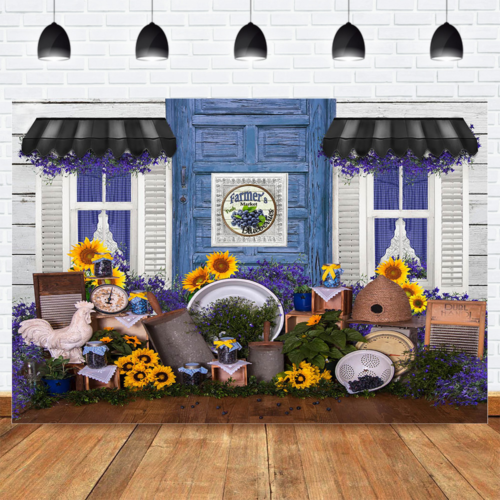 Farmer's Market Photo Background Sunflower Lavender House Spring Wedding Bride Backdrop Kids Newborn Photographic Photo Studio image