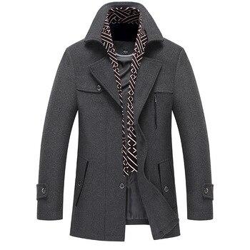 Men Winter Wool Coat Scarf Collar Warm Thick Woolen Overcoat Men Trench Coat Casual Wool Blends Jacket Male
