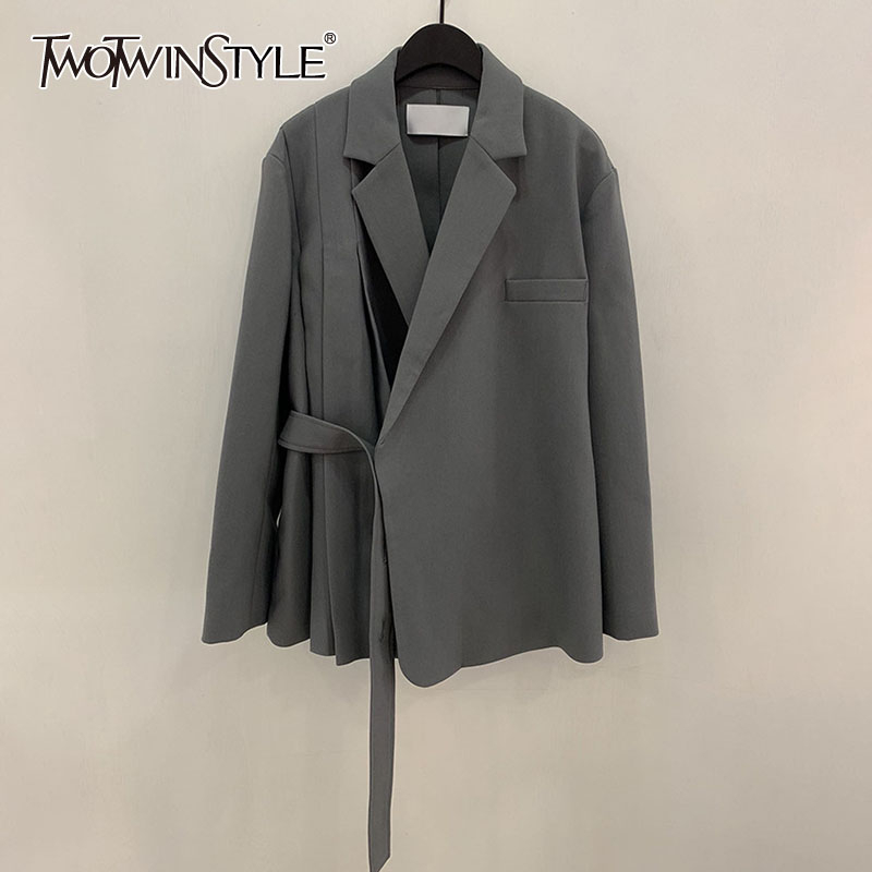TWOTWINSTYLE Casual Asymmetrical Women Blazer Notched Collar Long Sleeve Loose Ruched Lace Up Suit Female 2020 Clothing Fashion