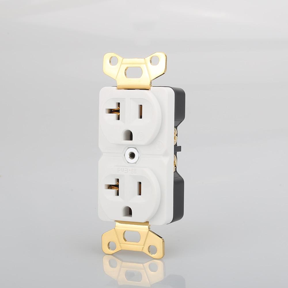 Hi End Beryllium copper Gold plated AC 20A Power Receptacle Wall Outlet Power Distributor 1pcs Plug & Connectors     - title=