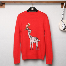 Autumn 2019 The New European and American High-end Big Red Deer Embroidered Solid Color Knitted Sweater Immortal Women