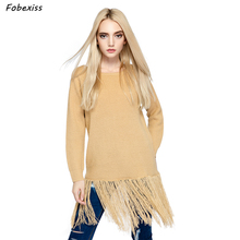 Long Fringe Sweater Autumn Woman Off White O Neck Knitted Pullover Gypsy Slim Jumper Fashion Clothes 2019 Casual