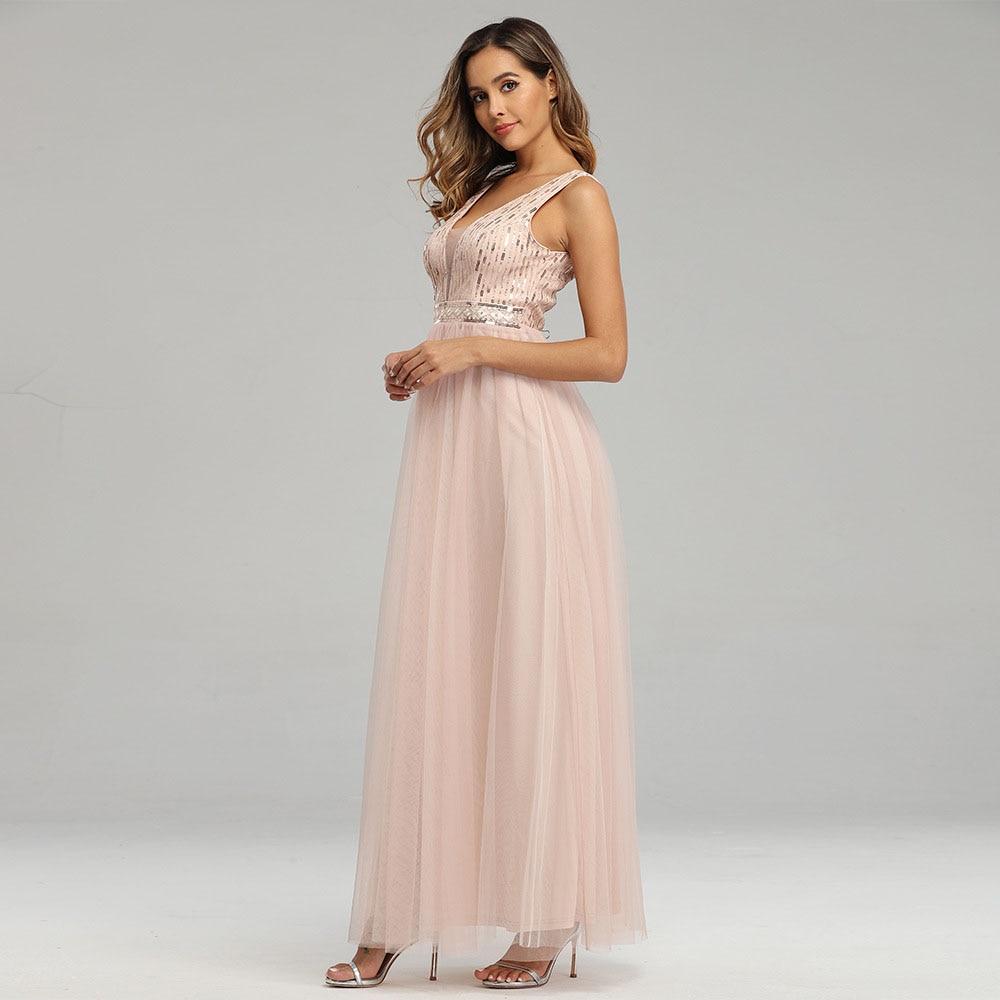 pink plus size evening dress v neck sleeveless a line floor length sequins women wedding party formal evening dresses