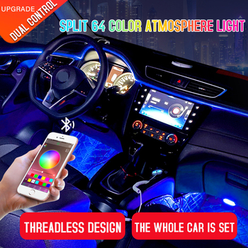 Led Car Interior Ambient Atmosphere Mood Light Rgb App Remote Control Backlight Auto Foot Center Console Door Decorative Lights 4pcs wireless remote control interior floor foot decoration light 12led car interior atmosphere rgb neon decorative lamp