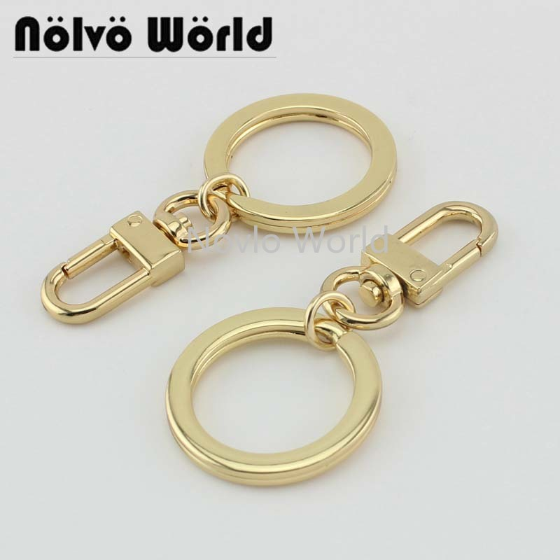 10-50-100pcs 4 Colors 23mm Thick Keyring Key Rings With Small Nice Clip Clasp DIY Handcrafted