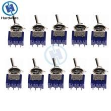10 Uds./5 uds. Interruptor de palanca miniatura de un solo polo doble SPDT (MTS102) ON-ON 120VAC 6A 1/4 pulgadas MTS-102 de montaje