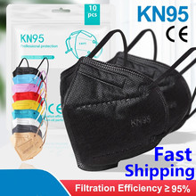 1-200Pcs ffp2 CE Mask fpp2 Approved kn95 Mascarillas Masks Kn95 Certified Black Mouth Caps Mask for Men Women 5 Layers Face Mask