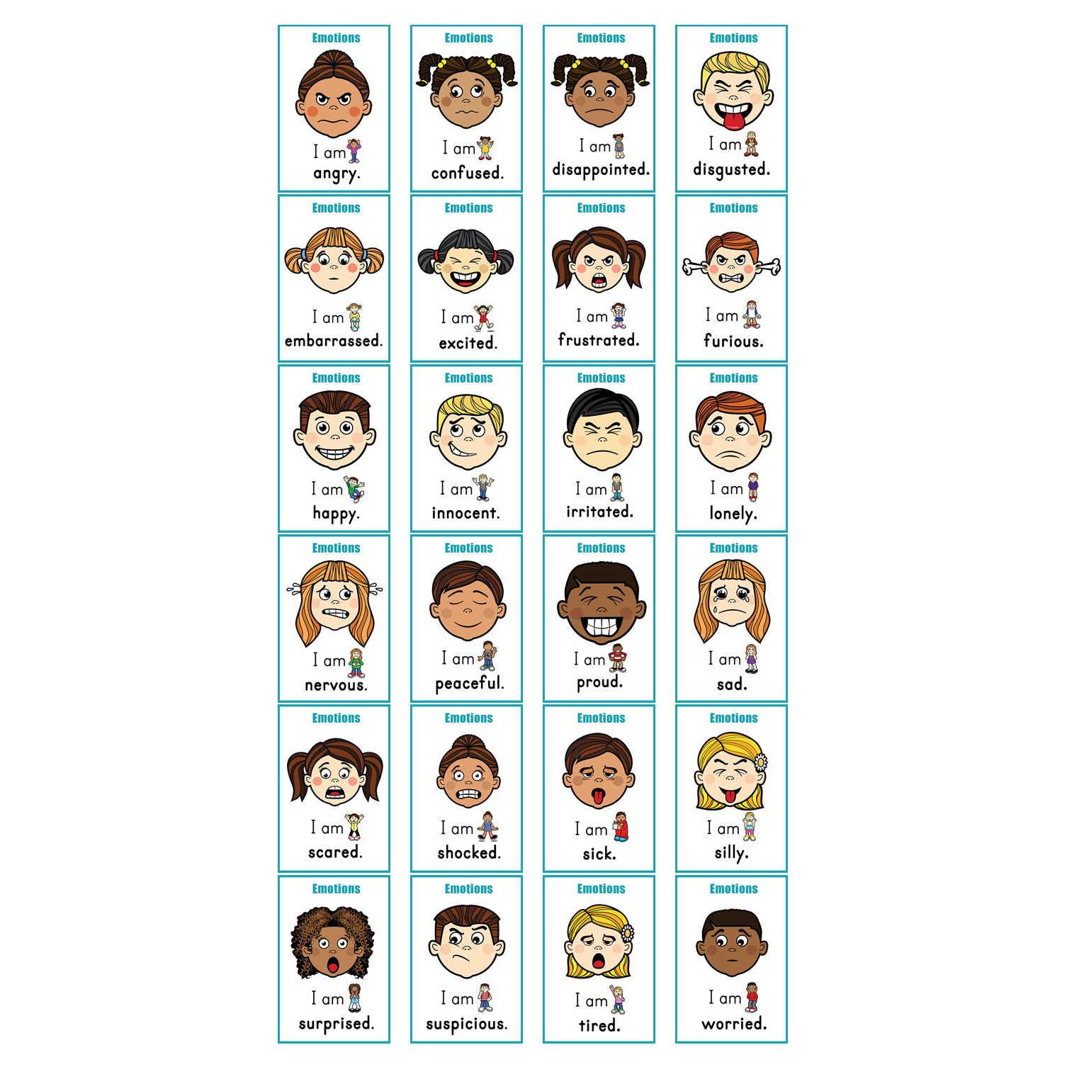 Juego de 24 tarjetas Flash Montessori para Aprendizaje de emociones del bebé, juego de cartas de palabras inglesas para niños, material didáctico para profesores