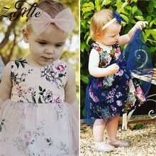 ZAFILLE Baby Girl Clothes Sleeveless Princess Birthday Party Dress Toddler Floral Printed Summer Dress Mesh Cute Girls Dress New new wedding girls dress summer mesh girls clothes gold floral princess dress children sleeveless clothes kids girls yarn dress