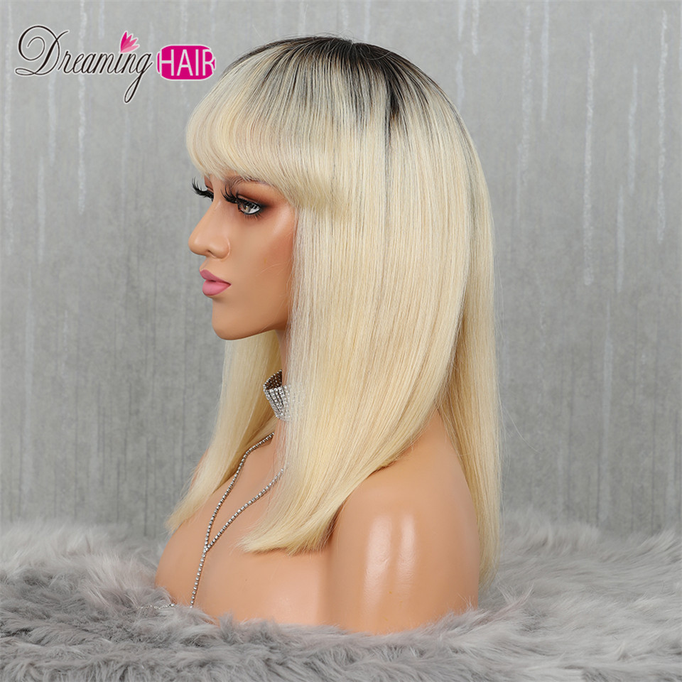 Hc8d500efece945ba9fd947271db4c693S 613 Short Cut 13X4 Bob Lace Front Human Hair Wig with Bangs Honey Blonde Color Transparent Lace Front Wigs For White Woman