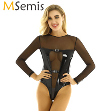 MSemis Women Pole Dance wear Clothing Wetlook Leather Mesh S