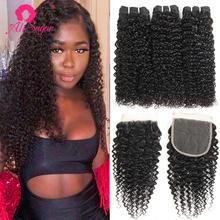Ali Sugar Virgin Hair peruwiański perwersyjne kręcone 3 zestawy z zamknięciem 4*4 koronki nieprzetworzone Natural Color surowe doczepy z ludzkich włosów tanie tanio = 15 NONE Wszystkie kolory 3 sztuk wątek i 1 pc zamknięcia Peruwiański włosów