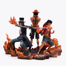 3 pçs/set Anime One Piece Monkey D Luffy Brotherhood DXF Portgas D Ace Sabo PVC Figuras de Ação Colecionáveis Brinquedos Modelo