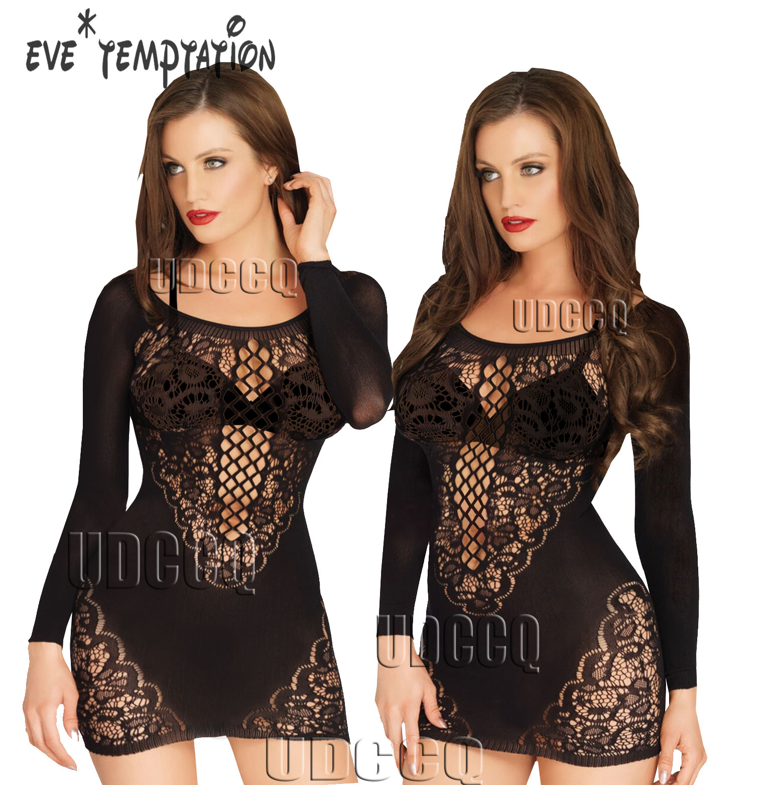 Lingerie Sexy Hot Erotic Hot Babydoll Sexy  Lace HotErotic Langerie Plus Size Underwear Chemise Long Sleeve Intimates DRESS W044