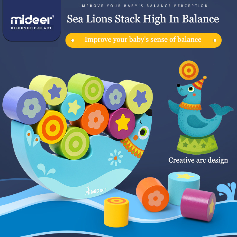 MiDeer Kids Sea Lions Stack High In Balance Children's Shapes Stack High Wooden Balance Building Blocks Early Education Toys