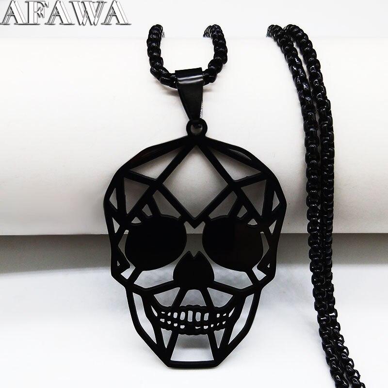 2021 collana a catena in acciaio inossidabile con teschio nero per donna collane e pendenti gioielli acero inossidabile joyeria mujer N3023S02