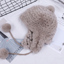 SUPPEV&STTDIO Womens Winter Rex Rabbit Fur Hat Ear Flap Fur Pom Bomber Hats Caps Russian Hat Ushanka Aviator Trapper Snow Skiing