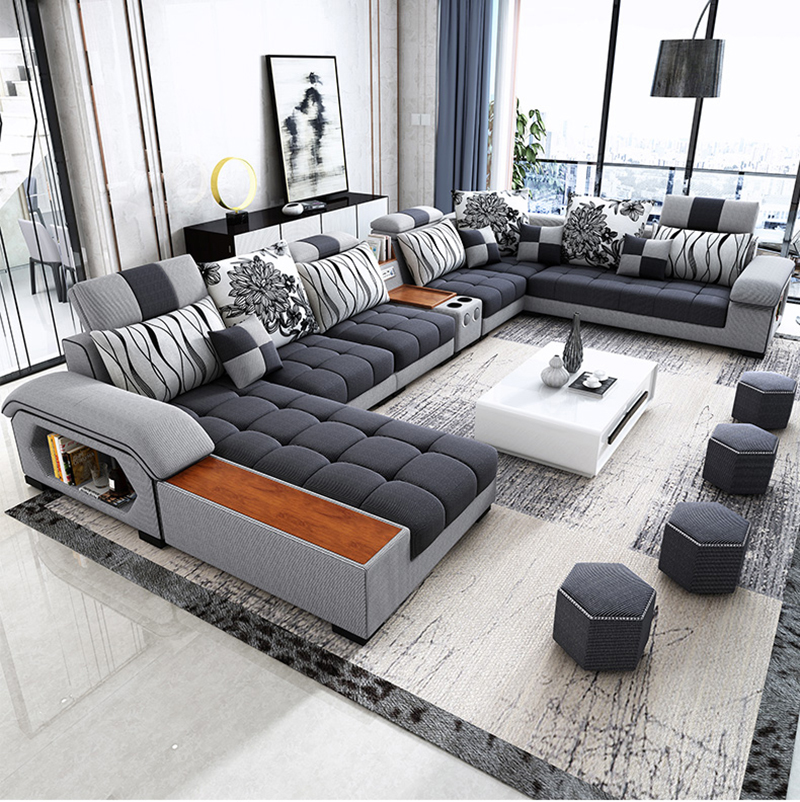 new arrival modern design u shaped sectional 7 seater fabric corner sofa