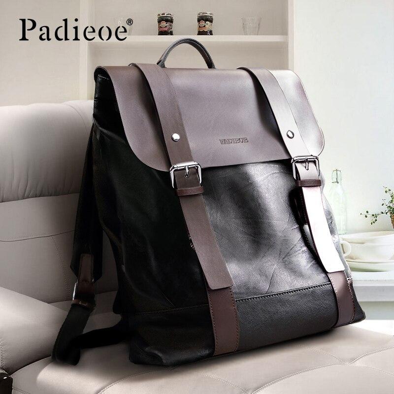 Padieoe Men Backpack Bookbag Mens Bag Genuine Leather Luxury College Back Pack Fashion Waterproof Travel Luggage Bag Laptop