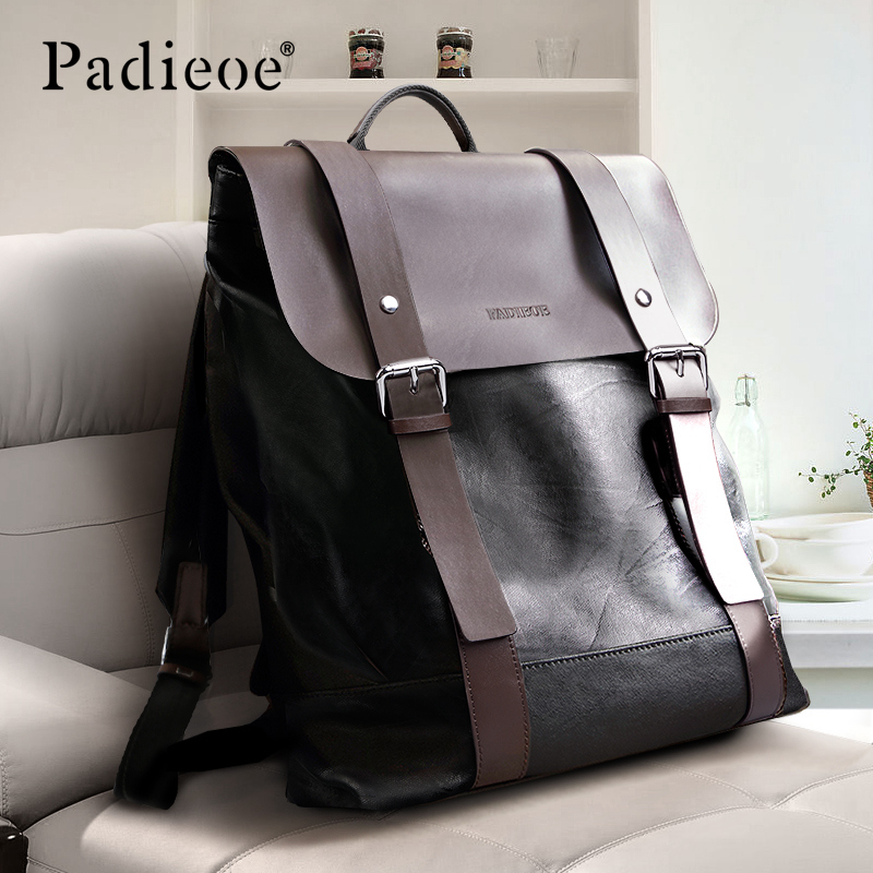 Padieoe men backpack bookbag mens bag genuine leather luxury college back pack fashion waterproof travel luggage bag laptop image