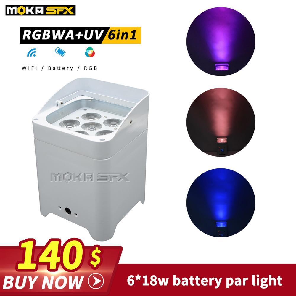 6*18W 6-IN-1 RGBWA-UV Wireless DMX LED Battery Par Light