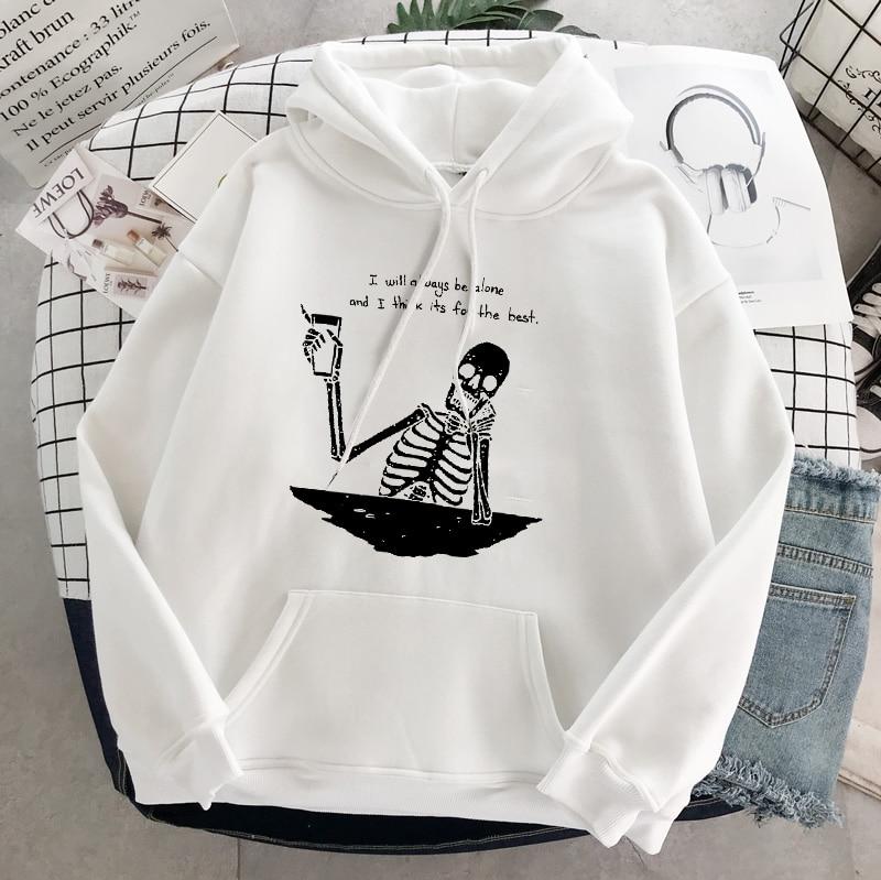 Punk style women's hoodie skull long sleeve casual top goth skeleton dark black 2021 loose ulzzang fashion women's sweatshirt 4