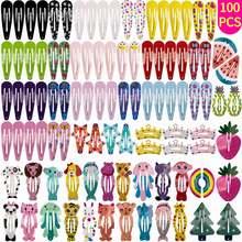 100 шт/лот заколки для волос с милым мультяшным рисунком цветочным