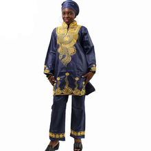 MD الملابس الأفريقية للنساء التطريز بازين الثراء قميص مجموعة بناطيل رجالي كم طويل بلايز السيدات التقليدية حجم كبير dashiki فستان