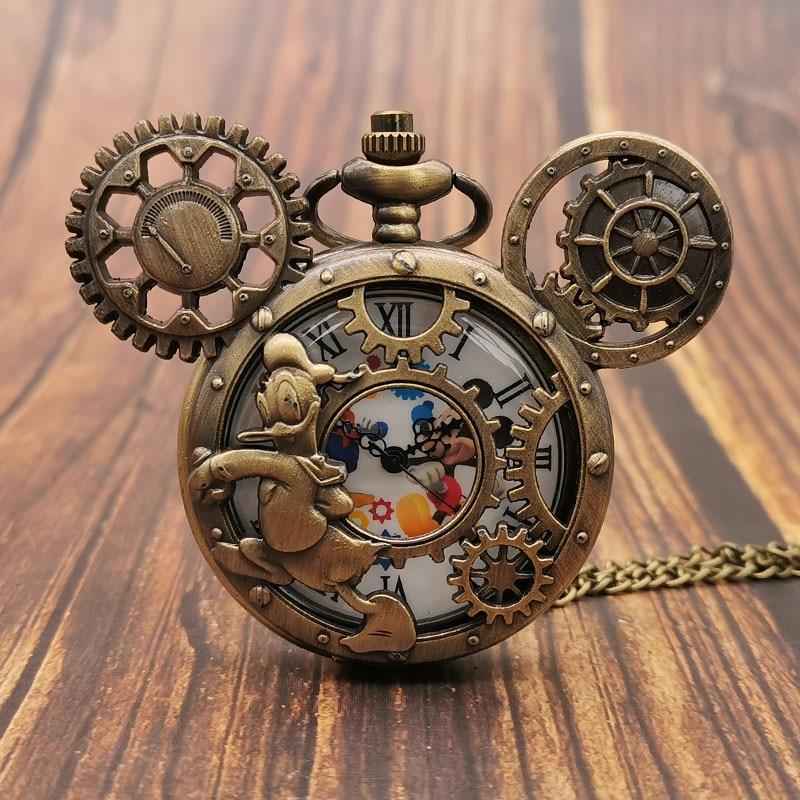 Lovely Cartoon Retro Steampunk Quartz Pocket Watch Necklace Pendant  Chain For Men Women Gift For Children Boys Girls Parents