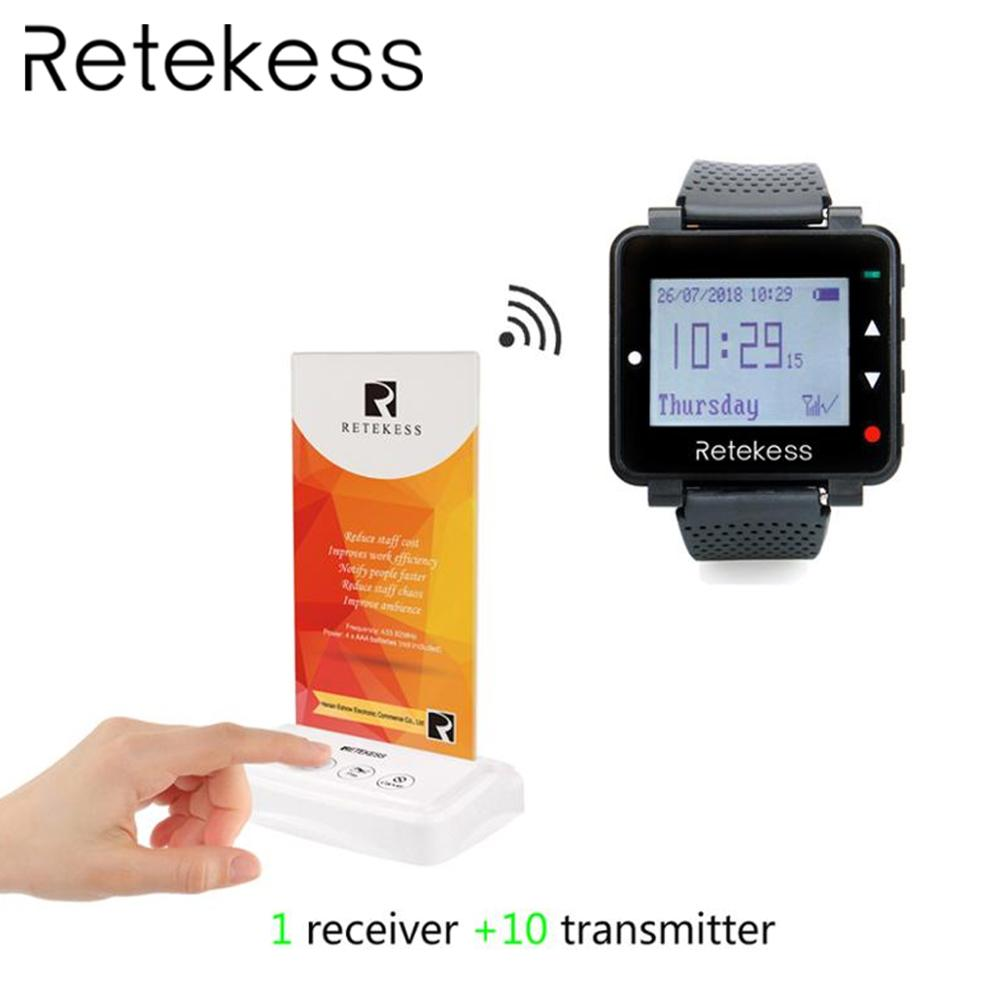 RETEKESS Pager System For Restaurant Wireless Calling Paging System Table Card Pagers 1 Watch Receiver 10