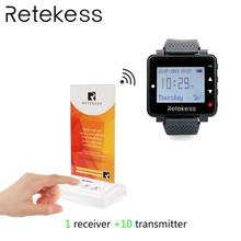 RETEKESS Pager System For Restaurant Wireless Calling Paging System Table Card Pagers 1 Watch Receiver + 10 Transmitter Button 1 to 2 wireless doorbell h6 voice intercom system visitor calling system 300m distance outdoor transmitter indoor receiver