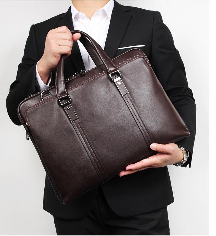 Men Business Briefcase Genuine Leather 15